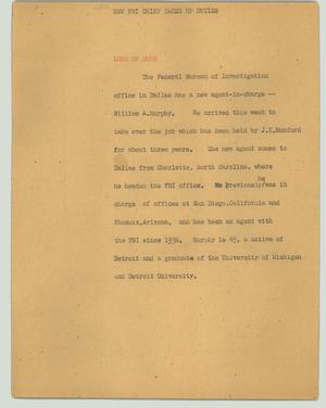 Primary view of object titled '[News Script: New FBI chief takes up duties]'.