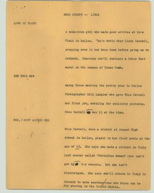 Primary view of object titled '[News Script: News briefs -- Linda]'.