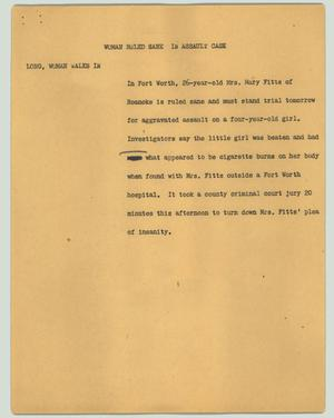 Primary view of object titled '[News Script: Woman ruled sane in assault case]'.
