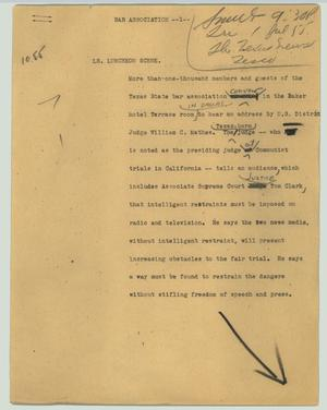Primary view of object titled '[News Script: Bar Association]'.