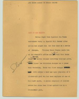 Primary view of object titled '[News Script: Joe Bonds jailed on morals charge]'.