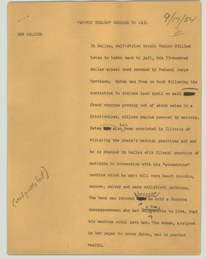 "Primary view of object titled '[News Script: ""Atomic Healer"" ordered to jail]'."
