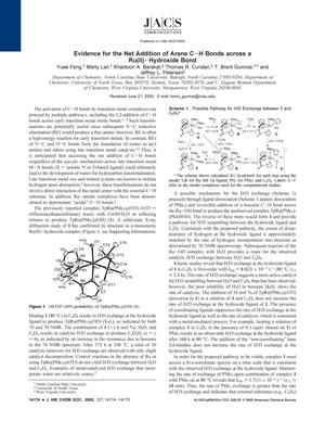 Primary view of object titled 'Evidence for the Net Addition of Arene C-H Bonds across a Ru(II)-Hydroxide Bond'.