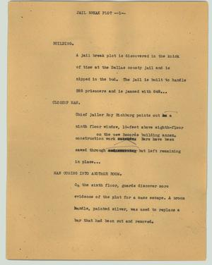 Primary view of object titled '[News Script: Jail break plot]'.