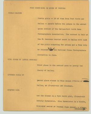 Primary view of object titled '[News Script: Fort Worth girl is queen of photogs]'.