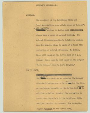 Primary view of object titled '[News Script: Jehovah's Witness]'.