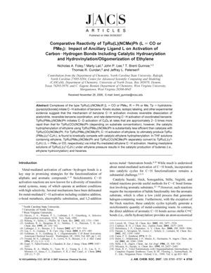 Primary view of object titled 'Comparative Reactivity of TpRu(L)(NCMe)Ph (L = CO or PMe3): Impact of Ancillary Ligand L on Activation of Carbon-Hydrogen Bonds Including Catalytic Hydroarylation and Hydrovinylation/Oligomerization of Ethylene'.