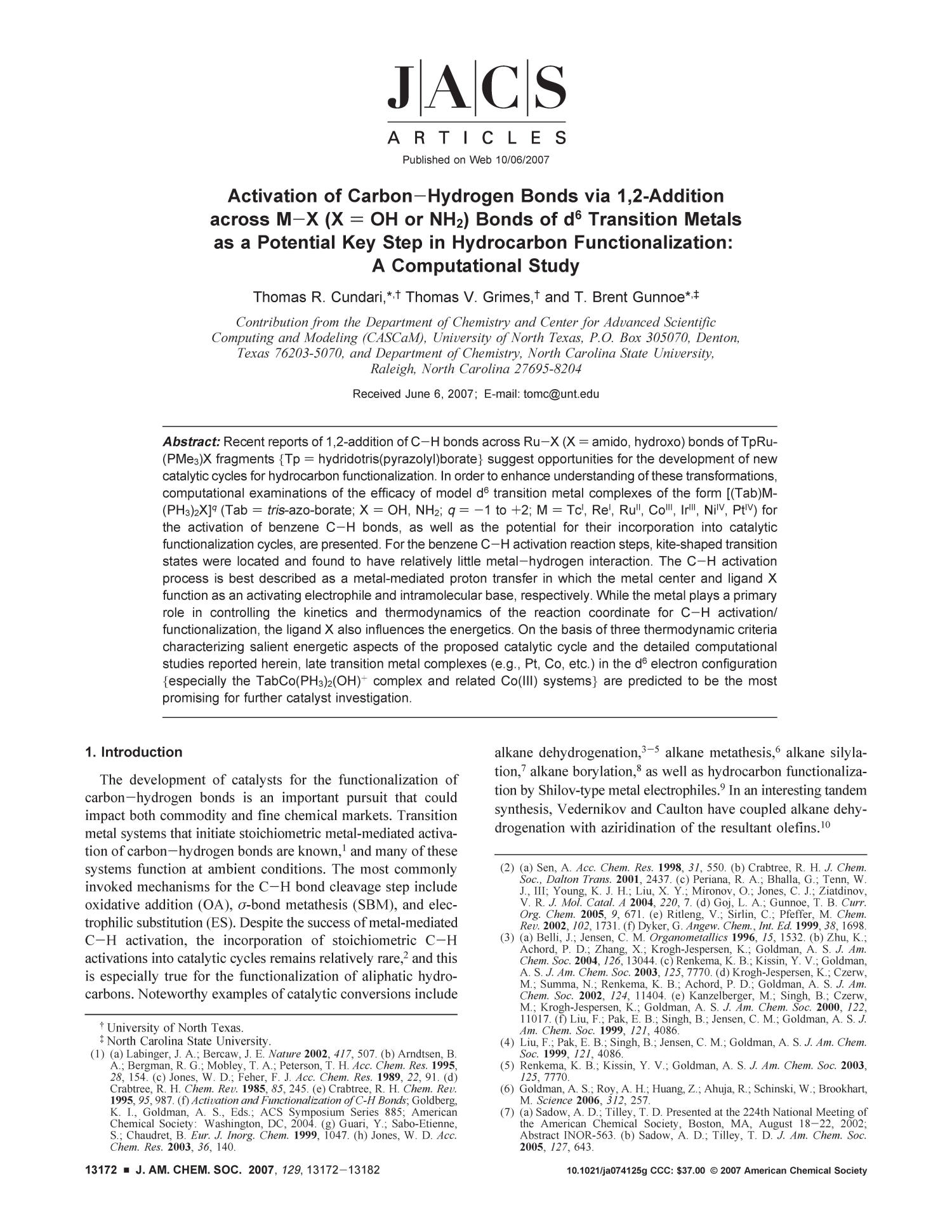 Activation of Carbon-Hydrogen Bonds via 1,2-Addition across M-X (X = OH or NH2) Bonds of d6 Transition Metals as a Potential Key Step in Hydrocarbon Functionalization: A Computational Study                                                                                                      13172