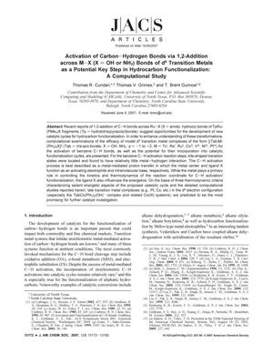 Primary view of object titled 'Activation of Carbon-Hydrogen Bonds via 1,2-Addition across M-X (X = OH or NH2) Bonds of d6 Transition Metals as a Potential Key Step in Hydrocarbon Functionalization: A Computational Study'.