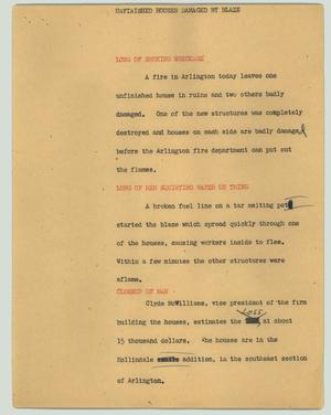 Primary view of object titled '[News Script: Unfinished houses damaged by blaze]'.