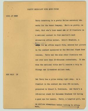 Primary view of object titled '[News Script: Pretty secretary wins $200 prize]'.