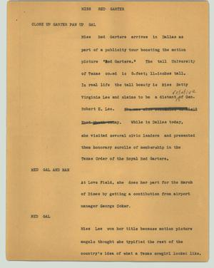 Primary view of object titled '[News Script: Miss red garter]'.