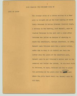 Primary view of object titled '[News Script: Bond hearing for Petersen goes on]'.