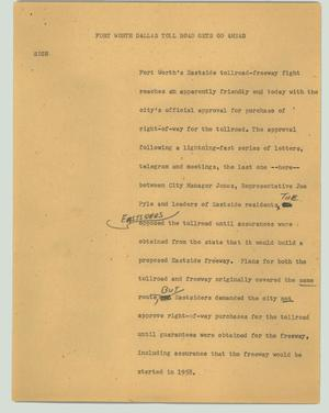 Primary view of object titled '[News Script: Fort Worth Dallas toll road gets go ahead]'.
