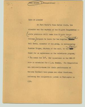 Primary view of object titled '[News Script: Rangerettes]'.