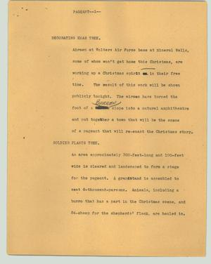 Primary view of object titled '[News Script: Pageant]'.