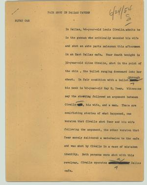 Primary view of object titled '[News Script: Pair shot in Dallas tavern]'.