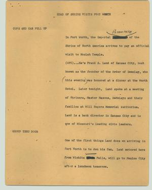 Primary view of object titled '[News Script: Head of shrine visits Fort Worth]'.