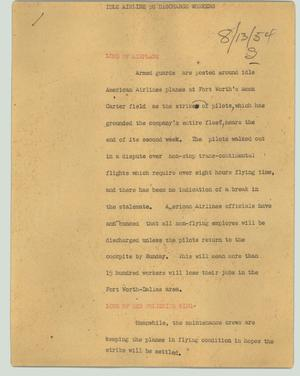Primary view of object titled '[News Script: Idle airline to discharge workers]'.