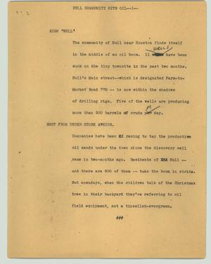 Primary view of object titled '[News Script: Hull community hits oil]'.