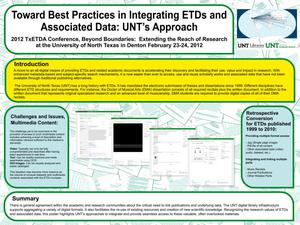 Toward Best Practices in Integrating ETDs and Associated Data: UNT's Approach