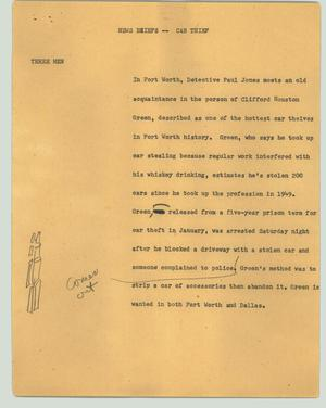 Primary view of object titled '[News Script: News briefs - car thief]'.