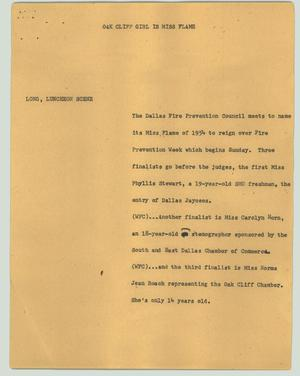Primary view of object titled '[News Script: Oak Cliff girl is Miss Flame]'.