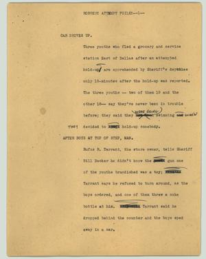 Primary view of object titled '[News Script: Robbery attempt foiled]'.