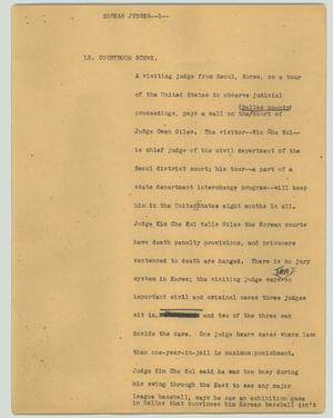 Primary view of object titled '[News Script: Korean judges]'.