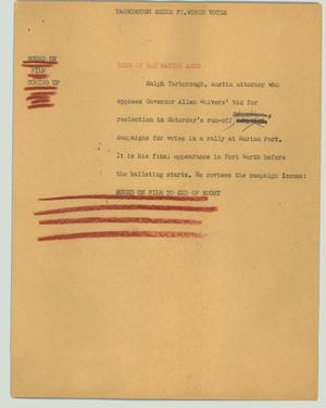 Primary view of object titled '[News Script: Yarborough seeks Ft. Worth votes]'.