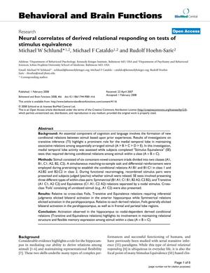 Primary view of object titled 'Neural correlates of derived relational responding on tests of stimulus equivalence'.
