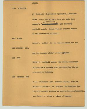 Primary view of object titled '[News Script: Massey]'.