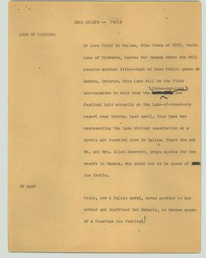 Primary view of object titled '[News Script: Paula]'.