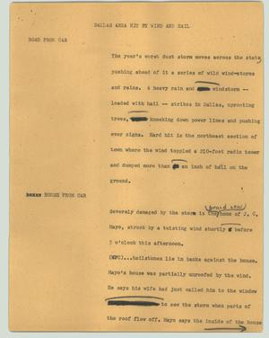 Primary view of object titled '[News Script: Dallas area hit by wind and hail]'.