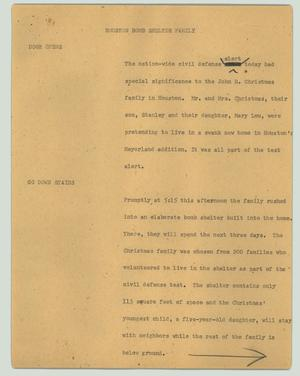 Primary view of object titled '[News Script: Houston bomb shelter family]'.