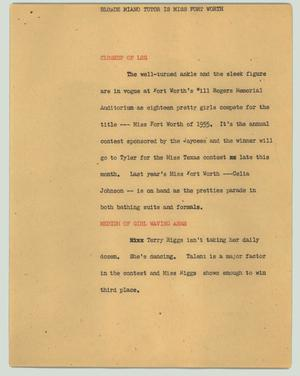 Primary view of object titled '[News Script: Blonde piano tutor is Miss Fort Worth]'.