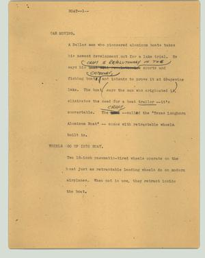 Primary view of object titled '[News Script: Boat]'.