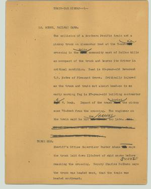 Primary view of object titled '[News Script: Train-car mishap]'.