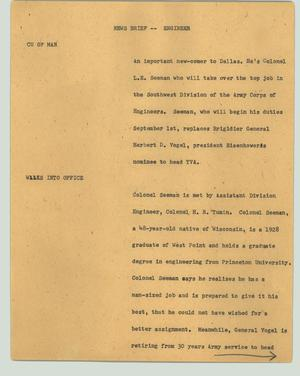 Primary view of object titled '[News Script: News brief -- engineer]'.
