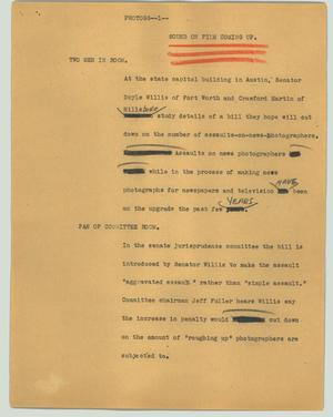 Primary view of object titled '[News Script: Photogs]'.