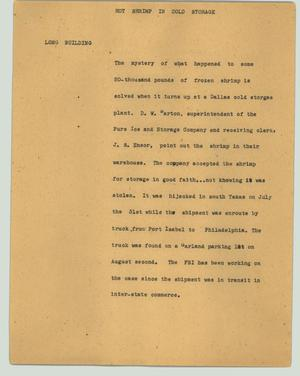 Primary view of object titled '[News Script: Hot shrimp in cold storage]'.