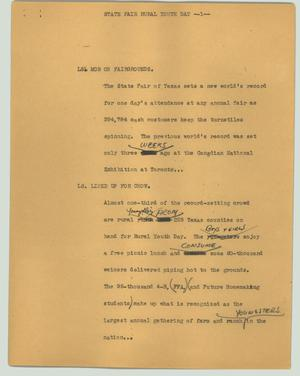 Primary view of object titled '[News Script: State Fair rural youth day]'.