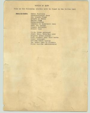 Primary view of object titled '[News Script: Review of 1954]'.