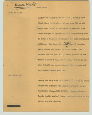 Primary view of object titled '[News Script: Dinah Shore]'.