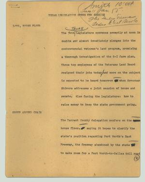 Primary view of object titled '[News Script: Texas Legislature opens new session]'.