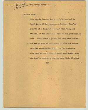 Primary view of object titled '[News Script: Masquerade party]'.