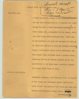 Primary view of object titled '[News Script: Charges filed in Clark murder case]'.