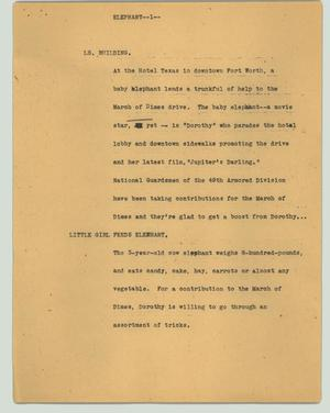 Primary view of object titled '[News Script: Elephant]'.