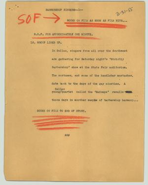 Primary view of object titled '[News Script: Barbershop singers]'.