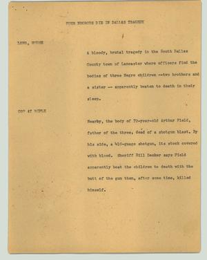 Primary view of object titled '[News Script: Four People Die in Dallas Tragedy]'.